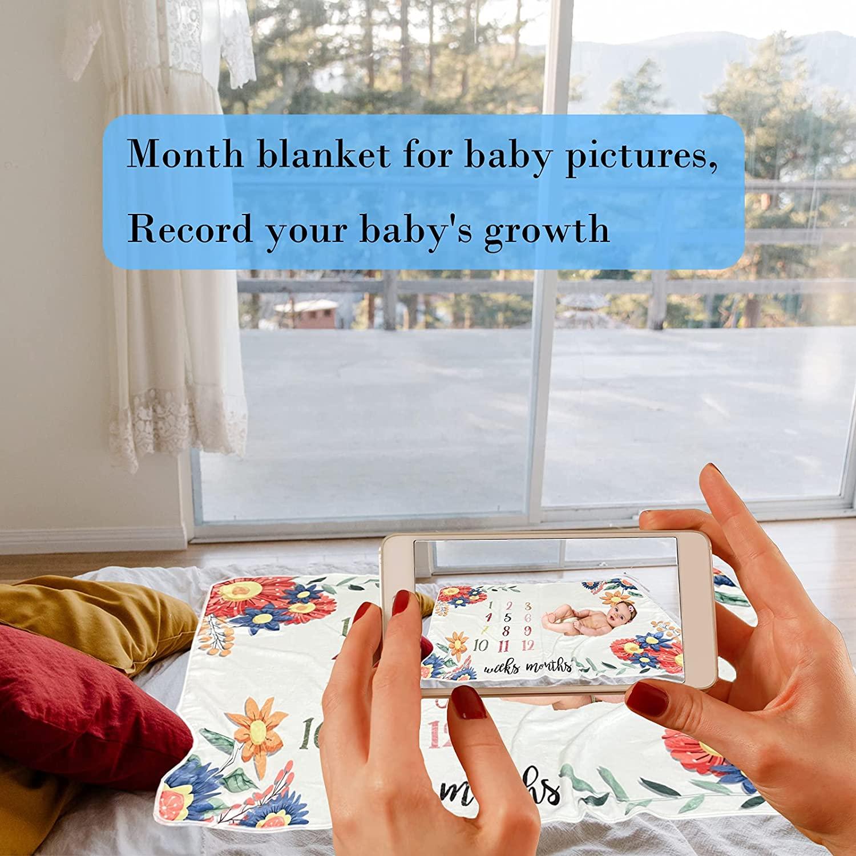 Baby Monthly Milestone Blanket for Baby Girl