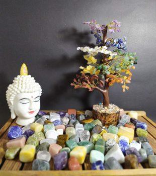 Beautiful Feng Shui Seven Chakra Natural Color Healing Gemstone Tree