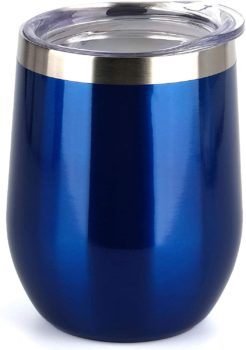Blue insulated wine glass