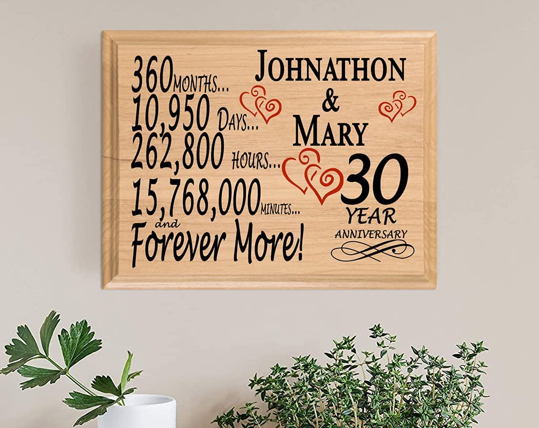 6. Broad Bay Personalized 30th Anniversary Wood Plaque