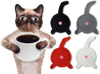 CAT BUTT Crochet Coaster Set