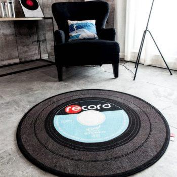 Retro Music Vinyl Record Non-Slip Round Area Rug