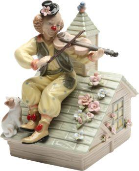 Clown with Violin Musical Ceramic Figurine