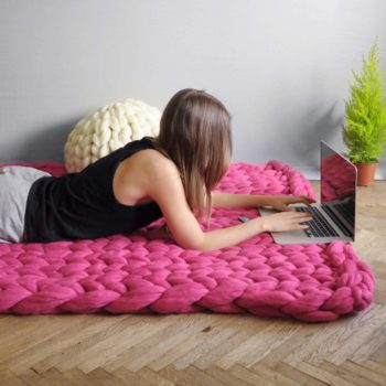 EASTSURE Chunky Knit Blanket Bulky Sofa