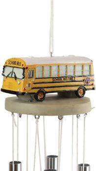 Ebros North American Yellow School Bus Model Wind Chime