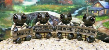 Ebros Whimsical Four Statue Set Holding Signs