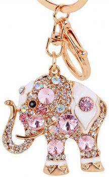 Elephant Colorful Opal Rhinestone Plating Keychain Purse