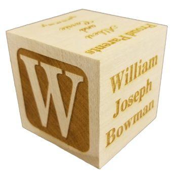 Engraved Wooden Baptism Block