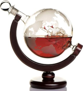 Etched World Globe Decanter