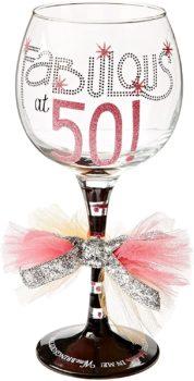 """""""Fabulous at 50"""" Wine Glass"""