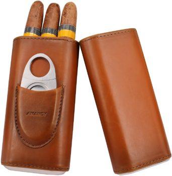 Finger Brown Leather Cigar Case