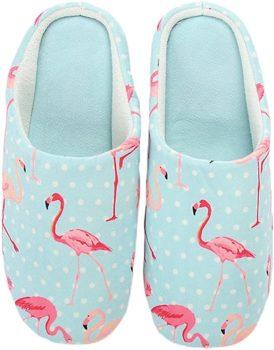 Flamingo Pattern Warm Winter Indoor Outdoor Slippers