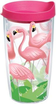 Flamingos Tumbler with Wrap and Fuchsia Lid