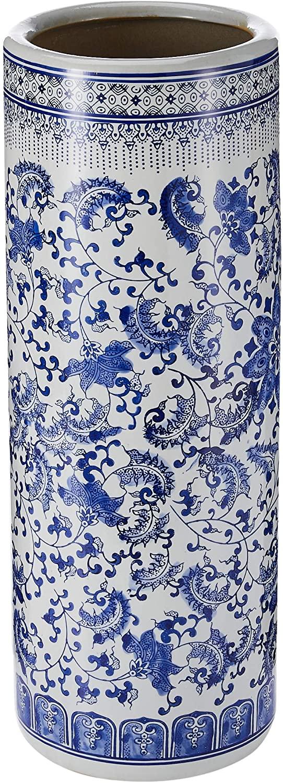 3. Floral Blue & White Porcelain Umbrella Stand