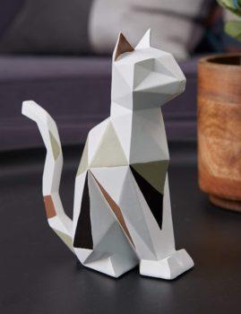Geometric cat sculpture