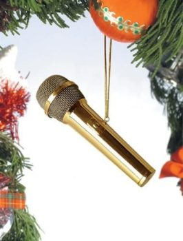 Gold microphone instrument ornament