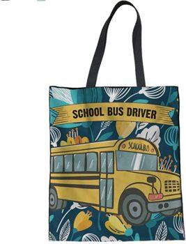 HUGS IDEA Cartoon Car Print Canvas Tote Bag for Women