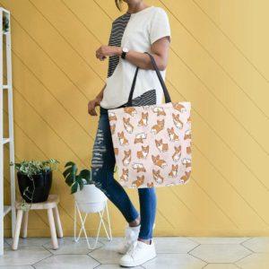 Handbag with Corgi patterns