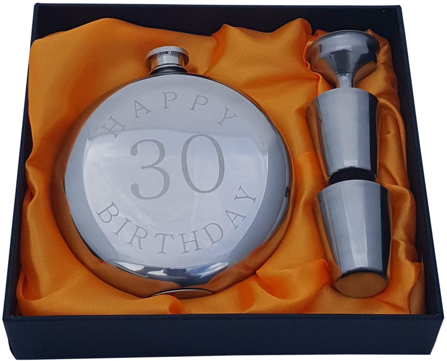 6. Happy 30th Birthday Flask Gift Set