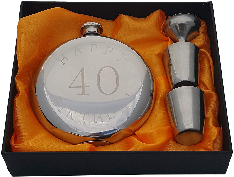 8. Happy 40th Birthday Flask Gift Set
