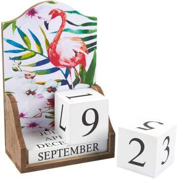 Juvale Wooden Perpetual Desk Calendar