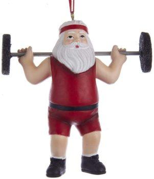 Kurt Adler Weightlifter Santa Resin Ornament