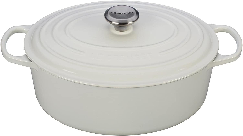 4. Le Creuset Enameled Cast Iron Signature Oval Dutch Oven, 6.75 qt., White
