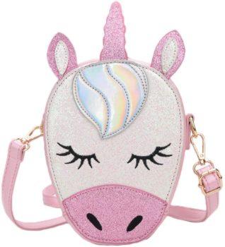 Leather unicorn crossbody purse