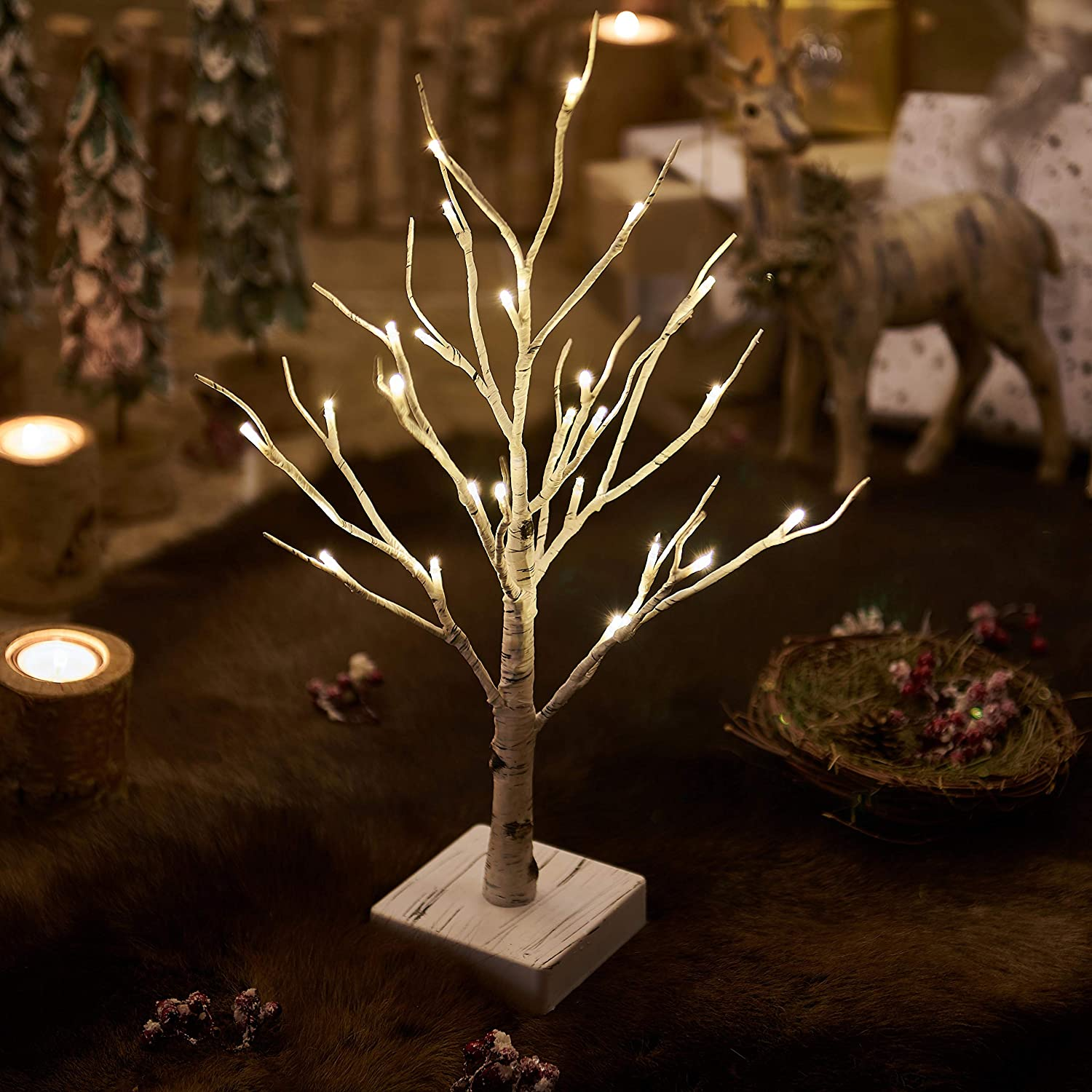 1. Lighted Little Birch Tree with Timer