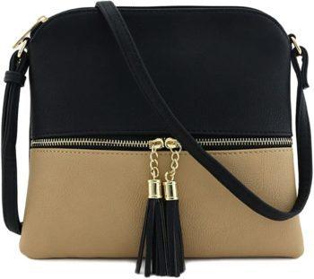 Lightweight medium cross body bag with tassels