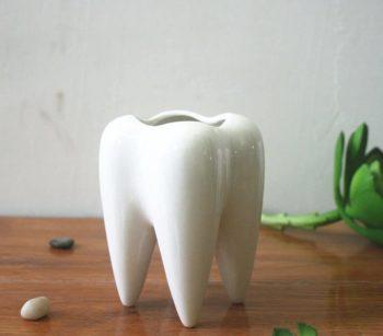 MONMOB Ceramic Tooth Shaped Pen Pencil Toothbrush Holder
