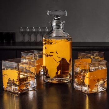 Map Etched Globe Decanter
