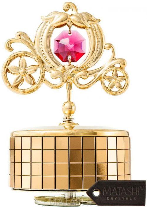 14. Matashi 24K Gold Plated Princess Carriage Music Box