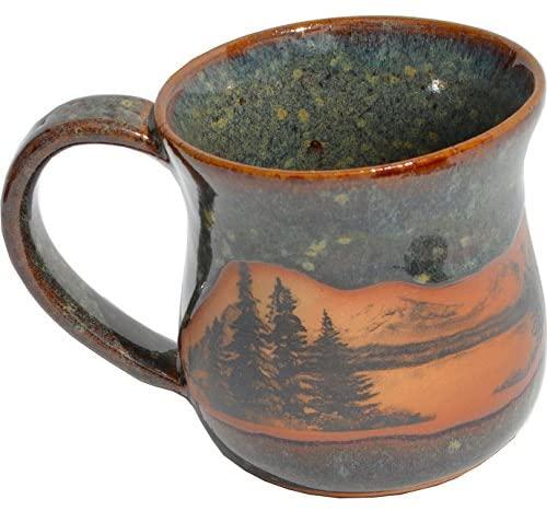 2. Mountain Scene Mug in Seamist Glaze