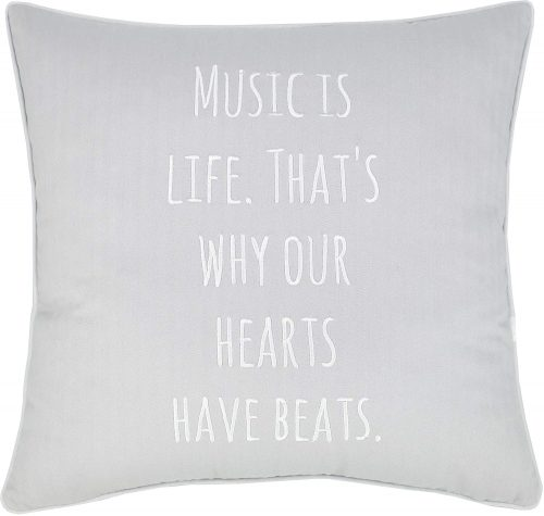 7. Music Lover Embroidered Pillow Cover