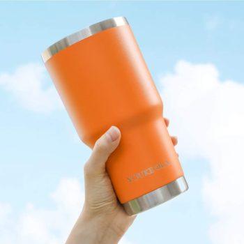 Orange vacuum insulated mug
