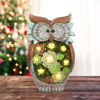 Resin Garden Statue Owl Figurine with Solar LED Lights