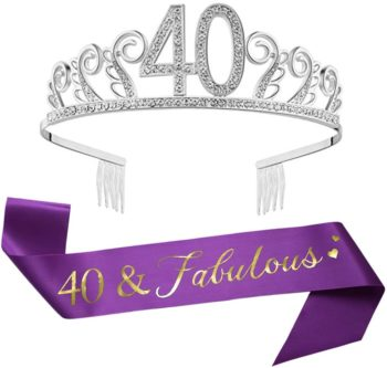 Silver birthday crown and sash