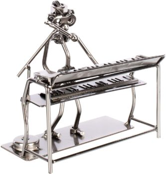Silver keyboard singer table figurine