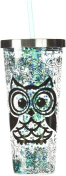 Spoontiques Blue Owl Glitter Cup With Straw