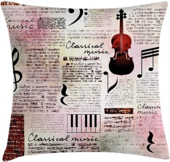 Throw Pillow Cushion Cover with violin print
