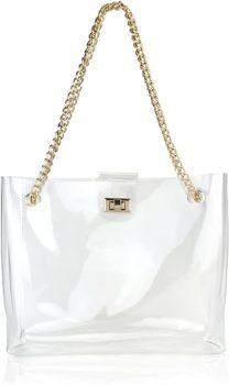 Transparent turn-lock women's bag
