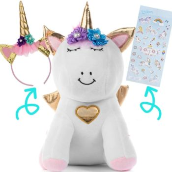 Unicorn Plush toy with Headband and Stickers