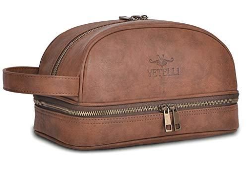 6. Vetelli Classic Leather Toiletry Bag