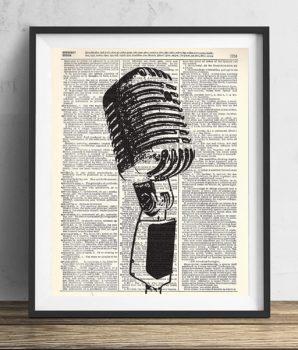 Vintage Microphone Illustration Dictionary Art Print