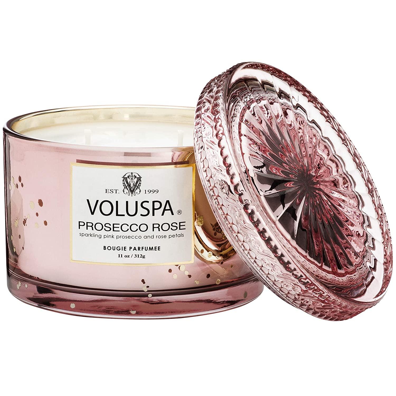 7. Voluspa Prosecco Rose Corta Maison Boxed Glass Candle
