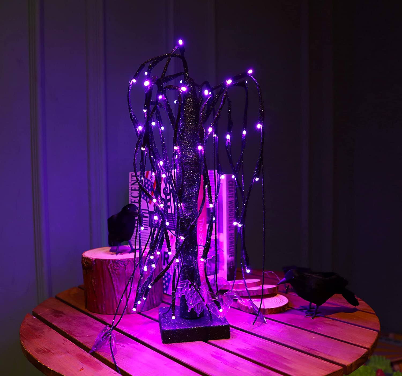 Willow tree lights with purple bat ornament