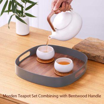 ZENS White Ceramic Teapot Set